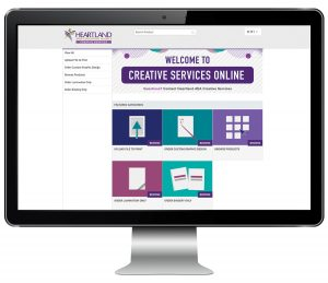 Creative Services Online Home screen
